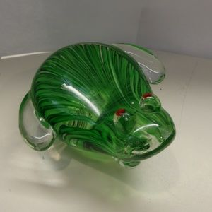 Other - GREEN HAND BLOWN PAPERWEIGHT FROG RED EYES